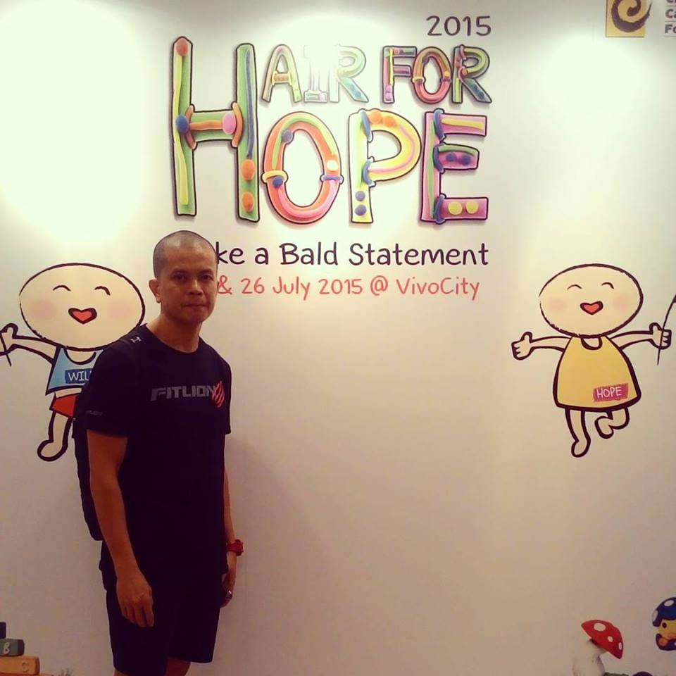 Academy of Sports and Exercise Science: Kelvin Lum shaved for Run for Hope 2016